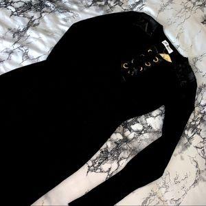 Black Knit wear leather mix dress 👗